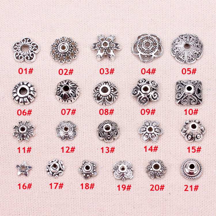 Meibeads 100pcs/lot  Silver Color Beads Cap Receptacle Jewelry DIY Jewelry Findings Making For Beads Jewelry Findings UF7029