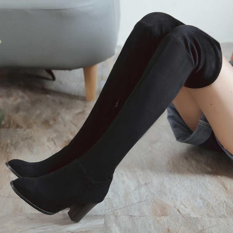 07b0c9b3584 ... BONJOMARISA Hot Sale Plus Size 32-46 Winter Spring Over Knee Thigh High  Platform Boots ...