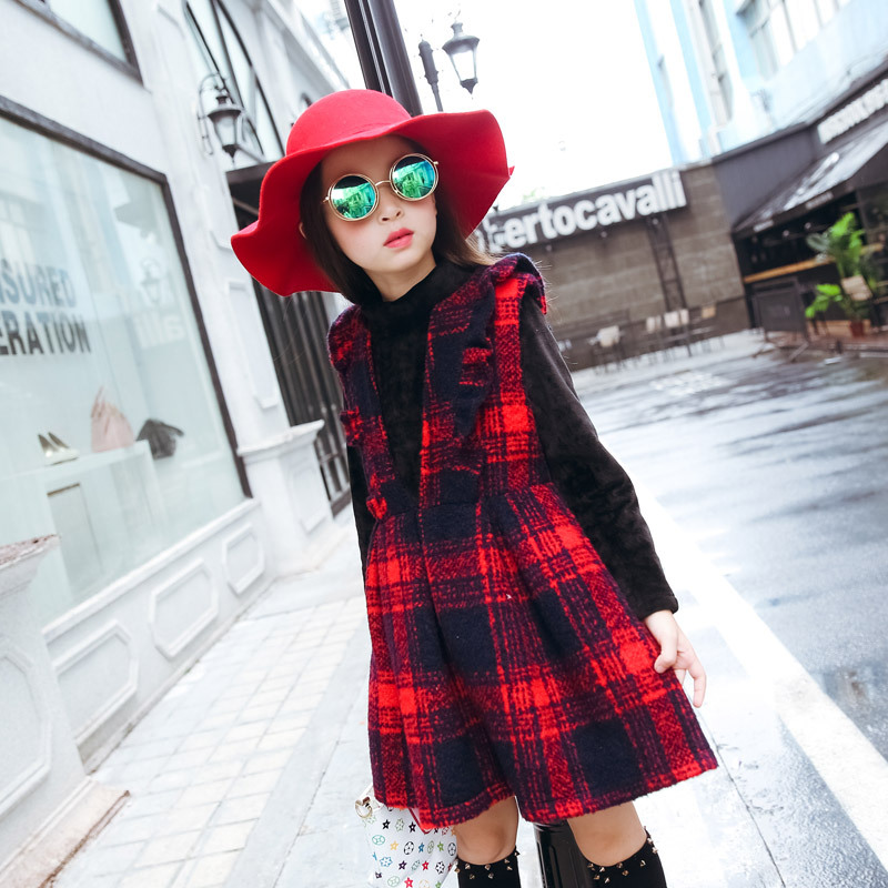 Autumn Winter Plaid Wool Two Pieces Girls Children Suit Vest Dress Kids Clothing Sets White Red Wool & Cotton 2017 girls children hoodies winter wool