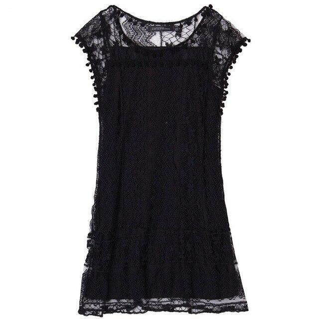 Summer Dress Women Lace ALine Dress Casual Sleeveless Beach Mini Dress Tassel Solid White Vestidos Plus Size 5Xl