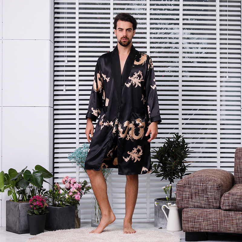 Luxury Silk Satin Pajamas Men Kimono Suit Summer Dragon Robe Sets Two-piece Dressing Gown + Shorts Sleepwear Plus Size 5XL