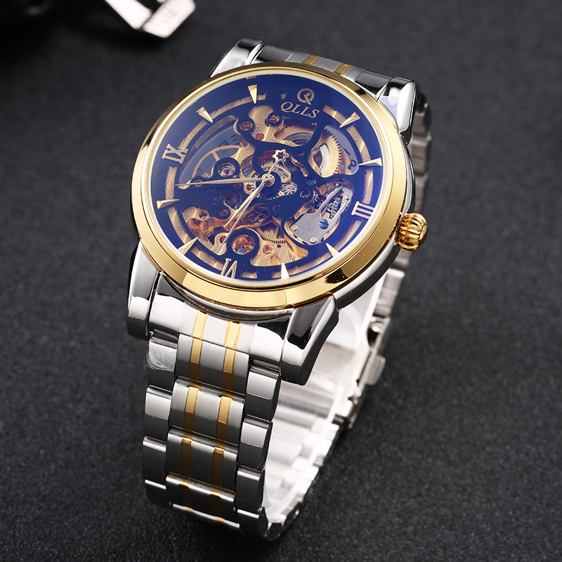 Automatical Mechanical Watches QLLS Men Luxury Brand Wrist Watch Male Clock Steel Wristwatch Men Skeleton Casual Business Watch biaoka automatical mechanical watches men luxury brand male clock leather wristwatch men skeleton casual business gold watch