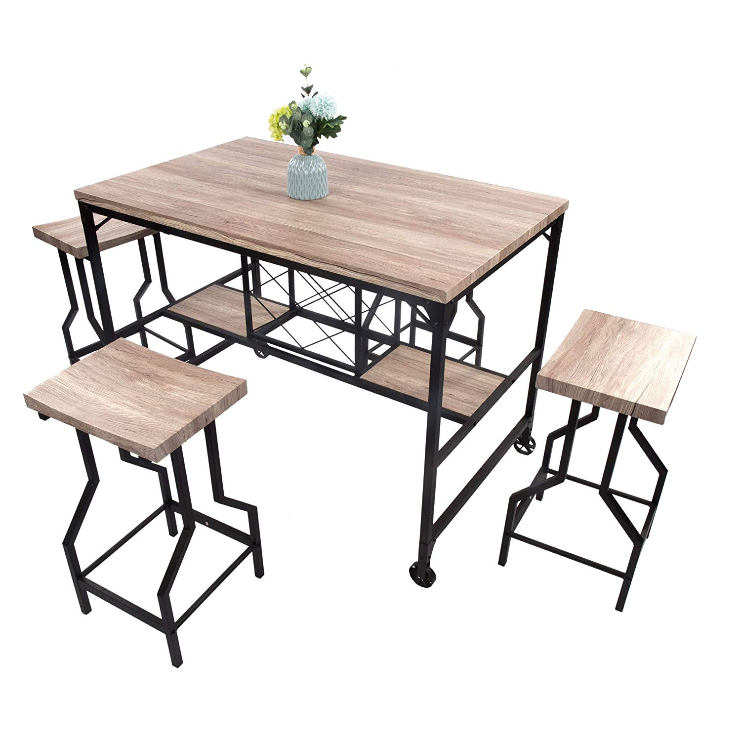 5 Piece Dining Set Industrial Style Wooden Kitchen Restaurant Table And Chairs With Metal Legs Dining Room Sets Aliexpress