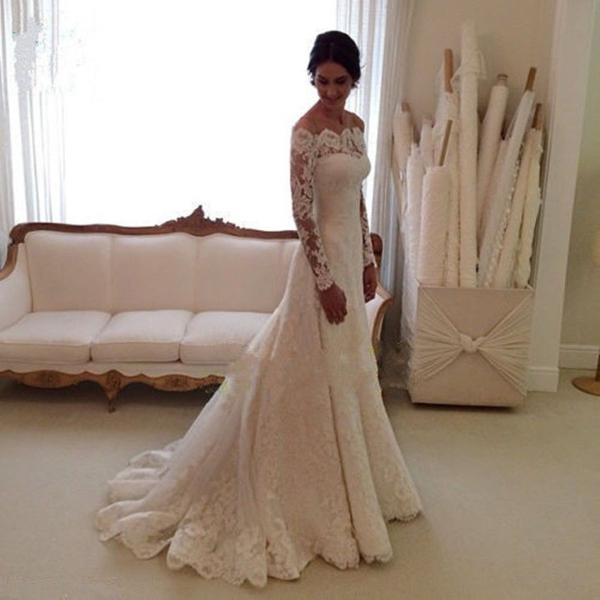 Lace-Mermaid-Wedding-Dresses-With-Long-Sleeve-2015-White-Strapless-With-Court-Train-Bridal-Gowns-vestido (1)