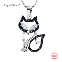 Black&White Crystal Lucky Fox Pattern 925 Sterling Silver Pendant Necklaces Cute Animal Collar Necklace Collier Kolye For Women