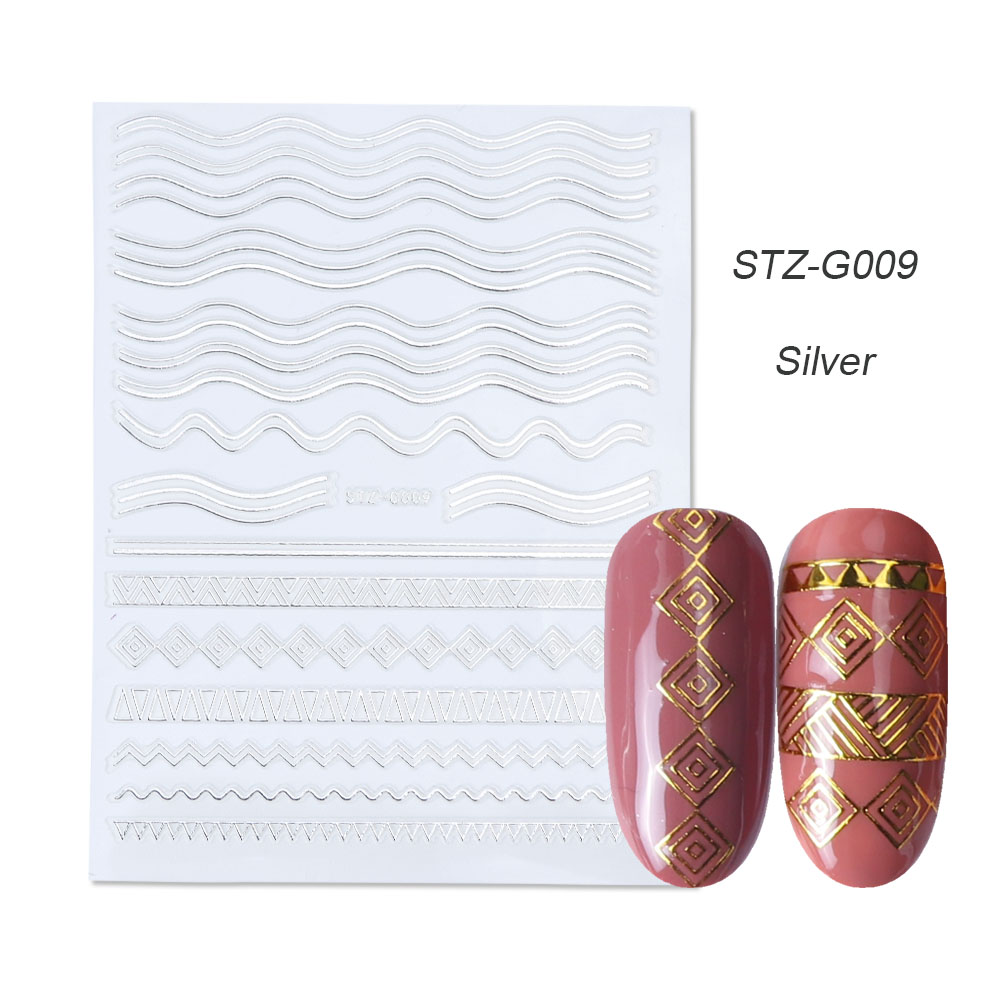 gold silver 3D stickers STZ-G009 Silver