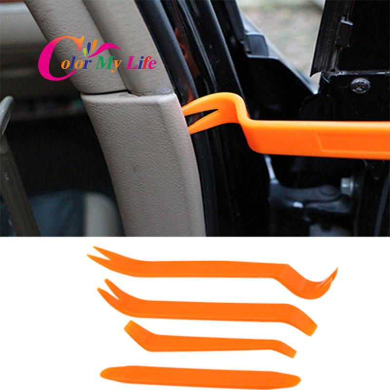 Color My Life 4Pcs Car Radio Panel Door Clip Trim Dash For Ford Focus 2 3 For Chevrolet Cruze Hyundai Solaris Fiat 500 500C 500L