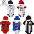 2016 Summer Baby Bodysuit Sports Style Newborn Baby Clothes Football Print Short Sleeve Baby Boy Bodysuit roupas infantis menino