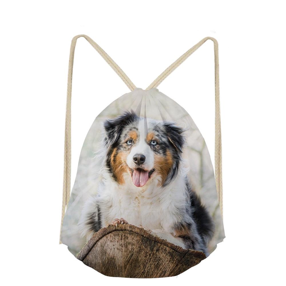 Women Men Australian Shepherd Dog Lover Casual Makeup Drawstring Bags Cute Backpack Girls Boys School Pocket Bag Shoe Sac Plage