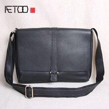 AETOO Shoulder bag men's Messenger bag casual leather men's bag new flip tide tide layer cowhide  cross section shoulder bag