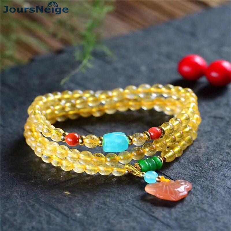 Fine JoursNeige or naturel cheveux cristal Bracelets perles pierre Wishful pendentif pour femmes cristal Bracelet multicouche bijoux