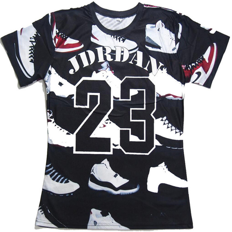 789296535 Fashion JORDAN 23 Shoes 3D Print T-shirt Men/Women Hiphop Funny T shirt