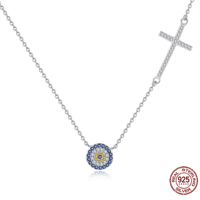 TONGZHE Necklace Women Jewelry 925 Sterling Silver Round Decorative Evil Eye  Necklace Pendant Necklace for Women Collares Sale 1163686216