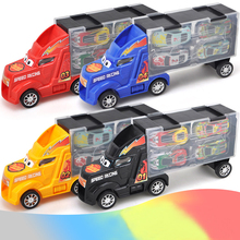 Zhorya Cartoon Alloy Cars Set Container Truck Storage Box with Metal Pull Back Mini Cars Model Suits Gifts for Kids