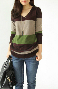 Cashmere sweater women new winter hedging long sections striped ...