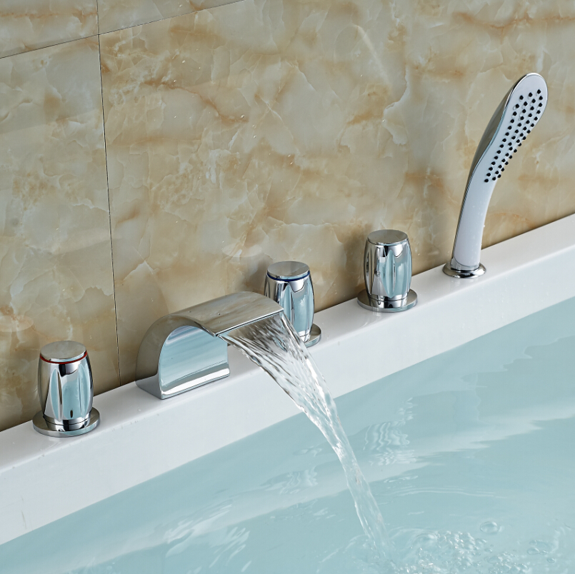 Deck Mount Three Handles Waterfall Bathroom Tub Faucet Widespread ...