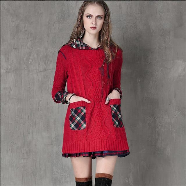 afb7ef1b942 Vintage À Capuchon De Laine Femmes Robe 2016 Patchwork Coton Robes Manches  Longues Robe Combo Robe