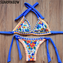 2017 New Sexy Handmade Crochet Bikinis Women Swimsuit Female Brazilian Bikini Set Vintage Ladies Swimwear Bathing Suits Biquini
