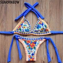 2017 New Sexy Handmade Crochet Bikinis Women Swimsuit Female Brazilian Bikini Set Vintage Ladies Swimwear Bathing Suits Biquini