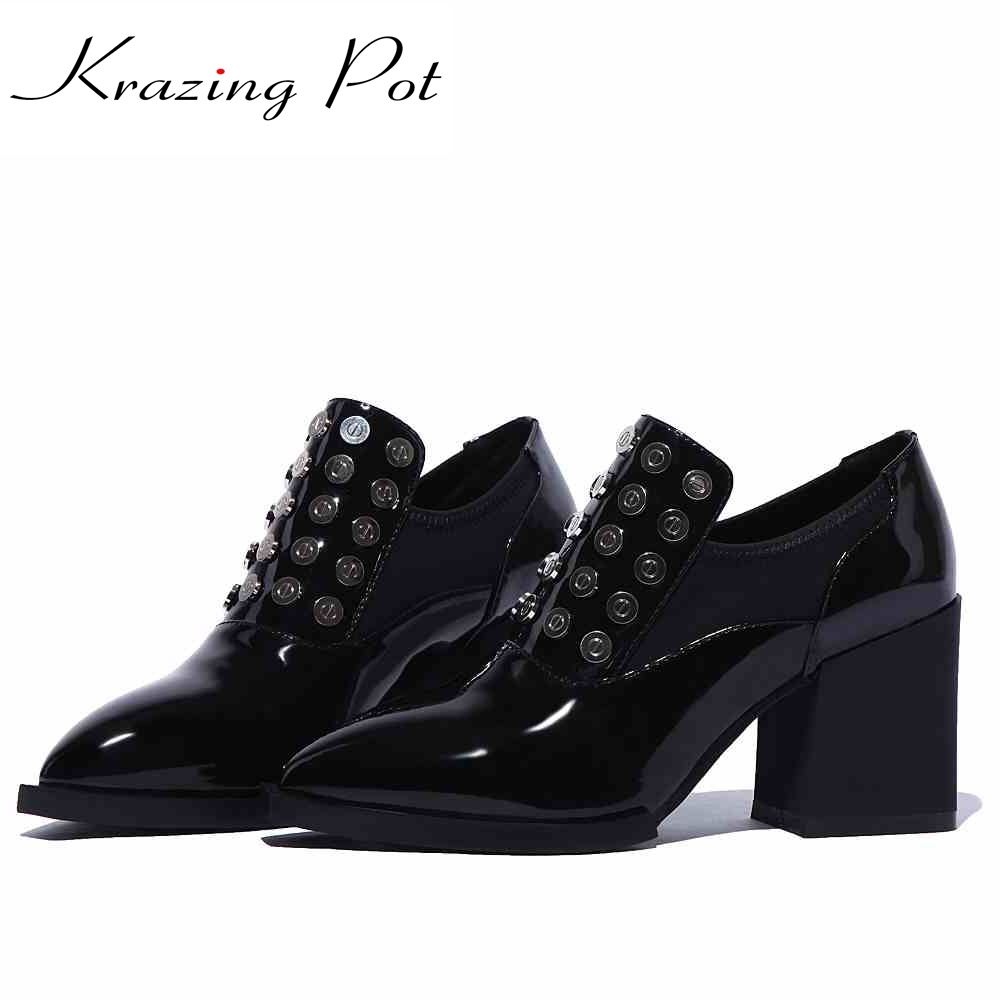 Фото 2017 shoes women rivets metal solid color decoration high heels pointed toe genuine patent leather handmade slip on shoes L96