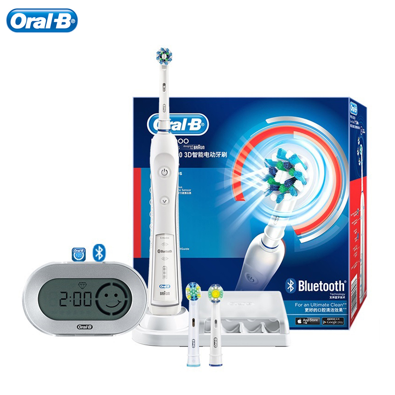 Oral B 3D Electric Toothbrush Pro6000 iBrush Bluetooth Contact to Phone Rotation & Sonic Vibration Clean 5 Modes Pressure Sensor image