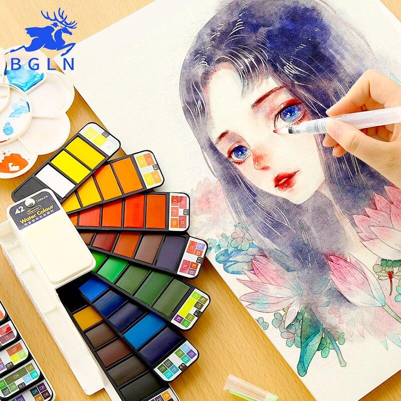 BGLN sólida portátil pintura acuarela con pincel Color brillante pintura pigmento conjunto para estudiante de arte suministros