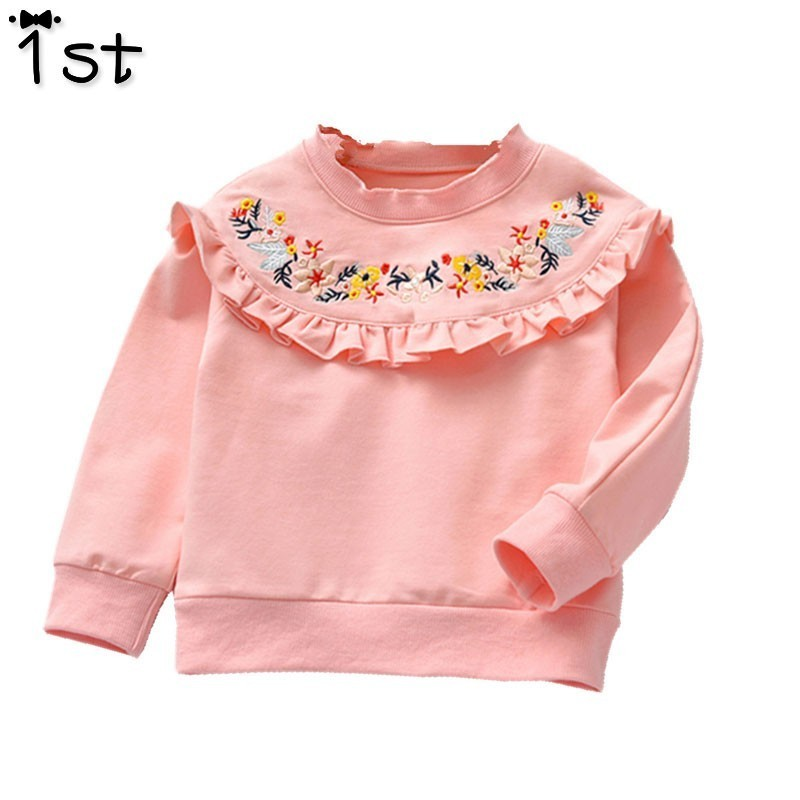 T-Shirt Girl Flower Autumn Long-Sleeved New Lace 1st Leaf Top-Lotus Embroidered