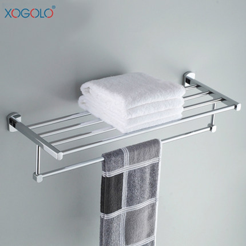 Xogolo Copper Polished Chrome Double Layer Bathroom Towel Holder With Bars New Arrival Towel Rack Good Quality fully copper bathroom towel ring holder silver