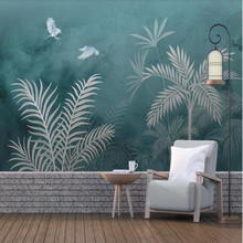 Nordic modern minimalist hand drawn tropical plants leaves nostalgic background wall decorative painting