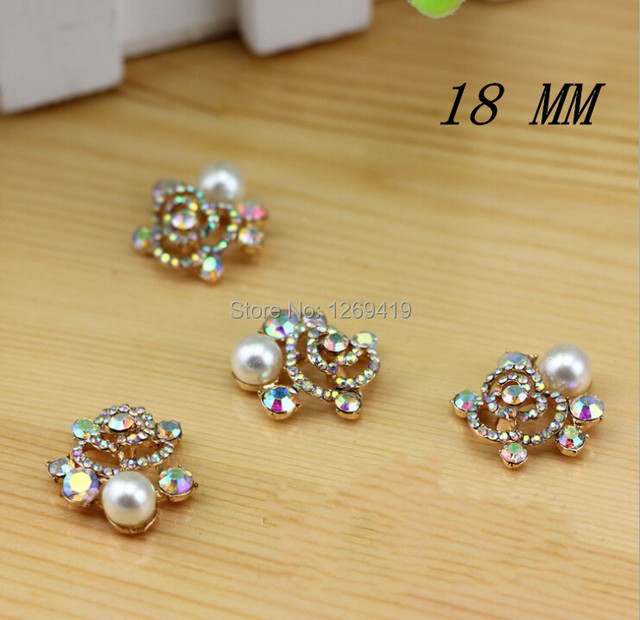 10PCS Full Colour Alloy Rhinestone Buttons Flatback Pearl Decorative Button  For DIY Garment Headband ef6fdc8430f5