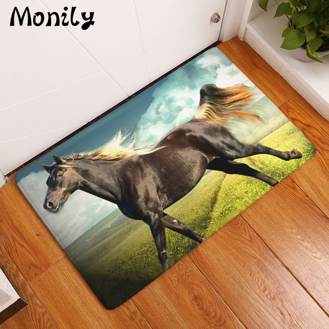 Monily Anti Slip Welcome Floor Mat Waterproof Animals Horse Kitchen Carpets  Bedroom Rugs Decorative Stair