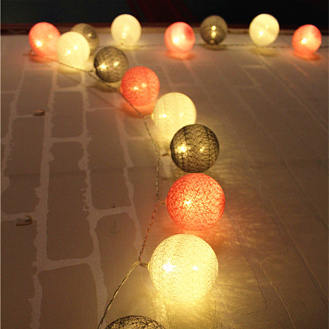 Lovely White/Pink/Gray Color Series Cotton Ball String Lights Girl Room  Decorative Fairy