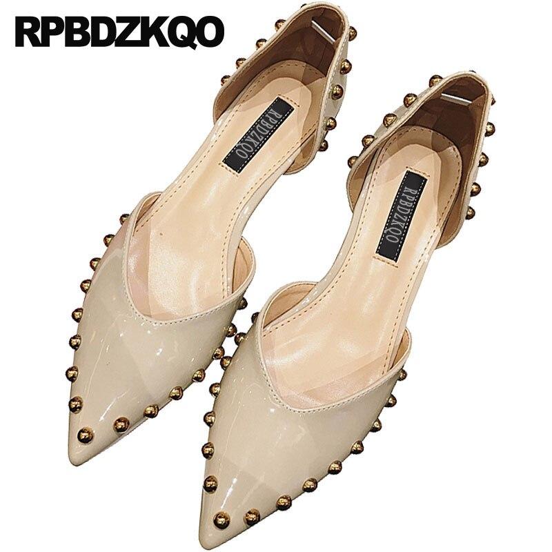 Dames d'orsay sandales élégant 2018 talons bas chaussures d'été coréen en cuir verni bloc bout pointu rivet mode beige