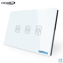 US/AU Standard Wall Light Touch Screen Switches 3Gang2Way White Crystal Glass+LED Smart Home Automation AC110V-250V