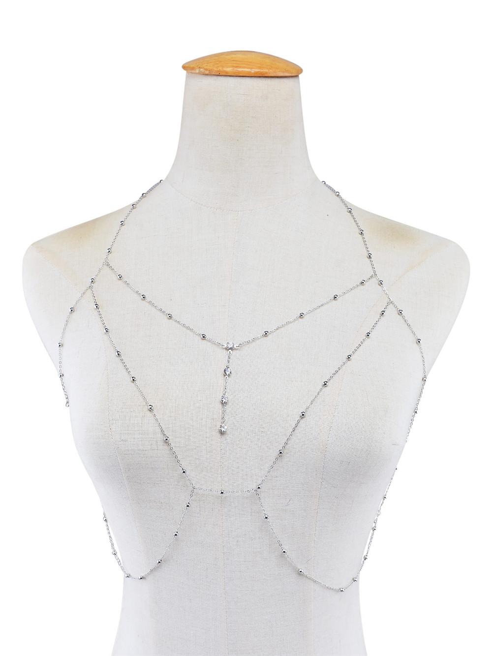 GIVVLLRY Rhinestones Tassel Body Chain Sexy Beach Gold Silver Color Wedding Accessories Bra Cross Body Chain Jewellery for Women 6