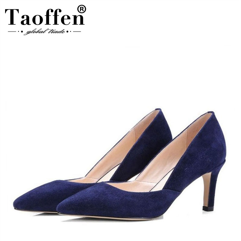 Taoffen New Sexy Women Real Leather Pumps Slip On Pointed Toe Thin Heels Shoes Fashion Party