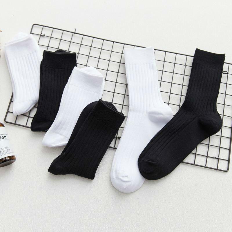 Trend Stockings Korean Street Skate In Solid Color Cotton White Male Black High Waist Mens Fashion Man Socks Men Short Summer