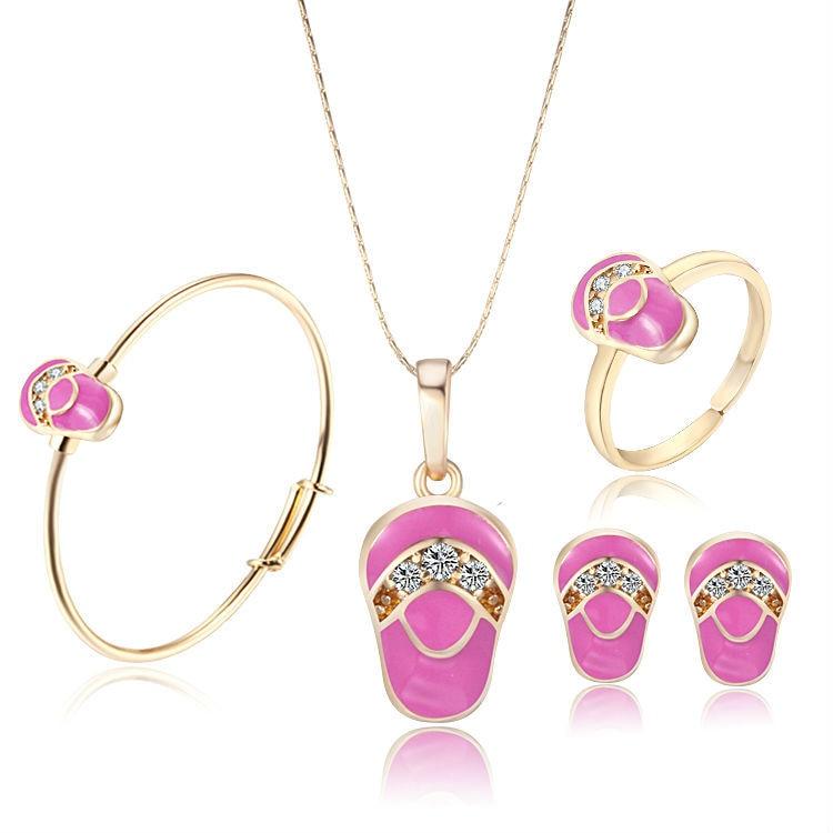 627433450ba7 Nueva llegada Rosa oro amarillo del bebé Niñas Juegos de joyería colgante  collar pulsera anillo Pendientes envío libre 7s18k-88