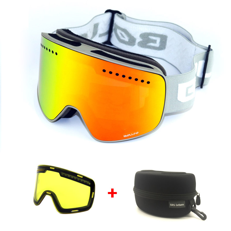 be0b782f6ee2 Dropwow Magnetic Double Layers Lens Ski Goggles Masks Anti-fog UV400 ...
