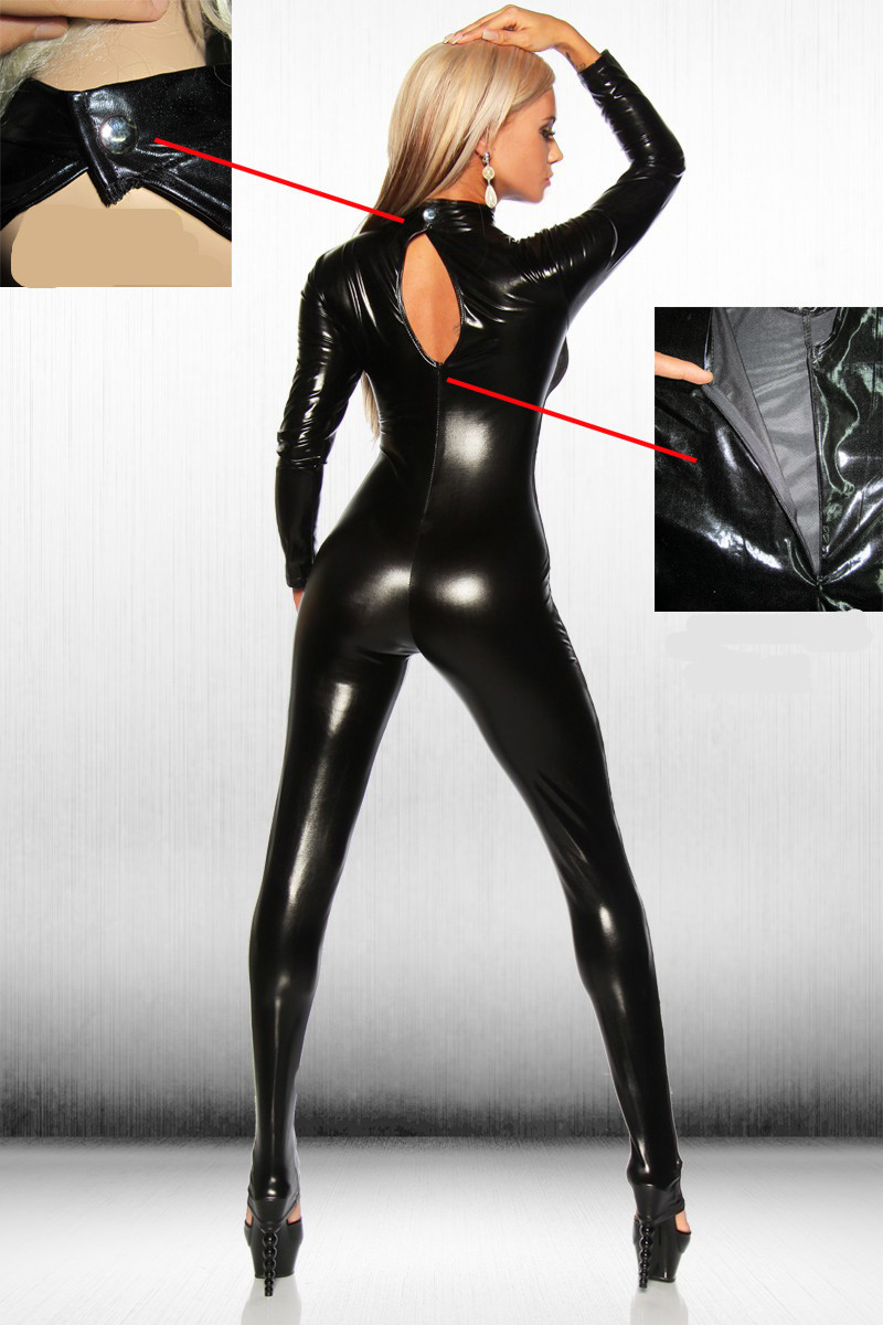 Black Leather Jumpsuit Bamgage Costumes Spandex Erotic Fetish Catsuit Latex Faux PVC Leather Jumpsuit Clubwear Lace Bodysuit