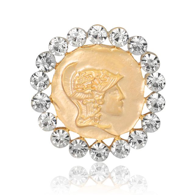 Vintage Antique Gold Cameo Beauty Queen Brooches Pins Cystal Enamel Fashion  Rhinestone Brooches For Women Christmas Gift da34e16c5747