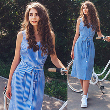 hotmeng 2019 new Women's summer dress  Women's Party Blue Striped Dress Sexy Summer Bandage Single-Breasted dress