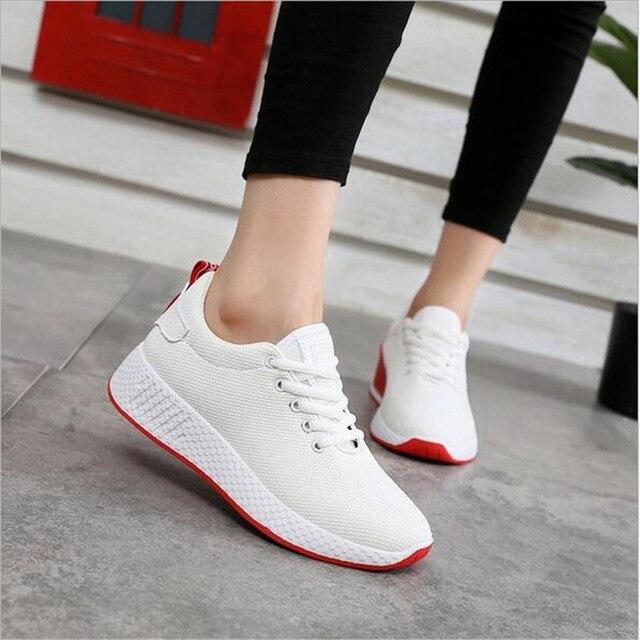 Rahat kadın sneakers hava mesh İlkbahar/sonbahar ayakkabı katı siyah/beyaz/pembe kadın ayakkabısı zapatillas mujer artı boyutu 35-40