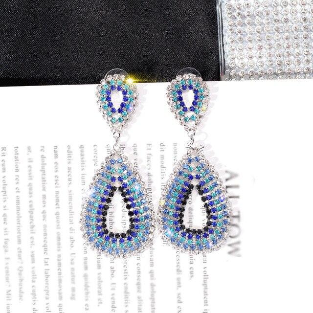 2018 Bling Crystal Long Tassel Earrings Blue Rhinestone Waterdrop Geometric Dangle Drop Earrings Eardrop For Women Jewelry 1