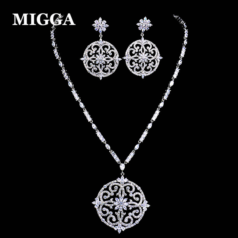 MIGGA Exquisite Cubic Zirconia Paved Vintage Pattern Round Pendant Necklace Earrings Dubai Jewelry Set for Women 10pcs single row female 2 54mm pitch pcb female pin header connector straight single row 2 3 4 5 6 8 10 12 14 15 16 20 40pin