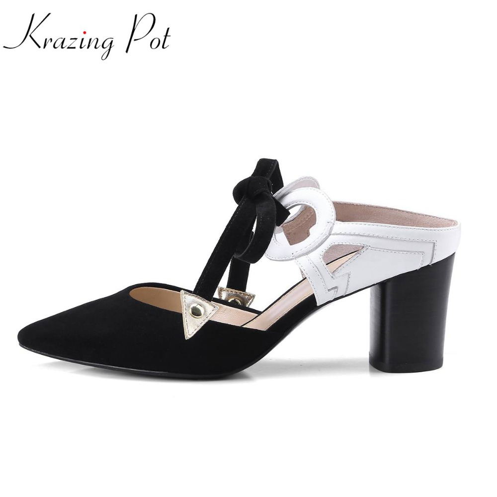 Krazing pot full grain leather brand shoes high heels women sandals slingback mixed colors round buckle decorations mules L53 krazing pot shoes women full grain leather mules hollywood peep toe metal chain decorations sandals summer outside slippers l88