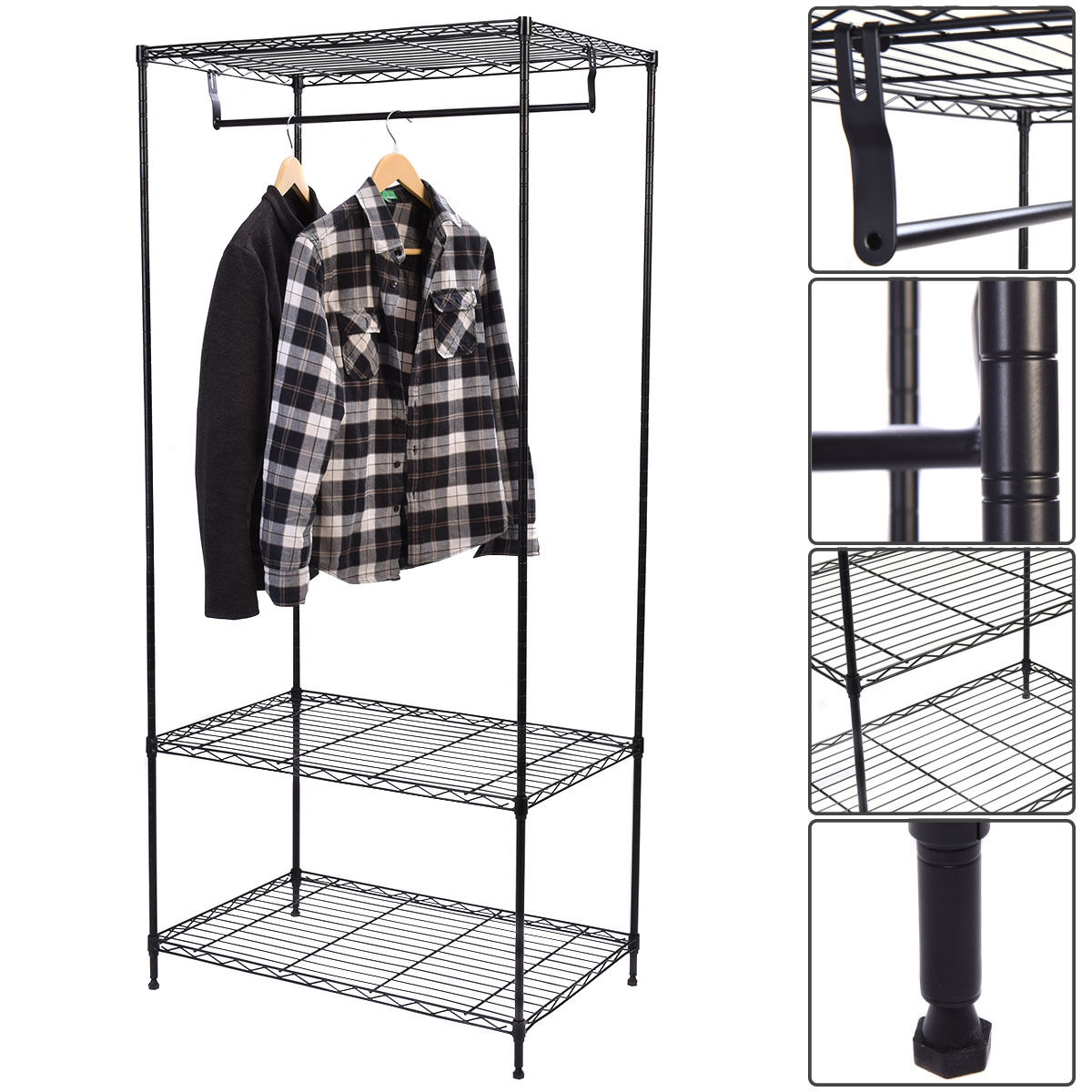 Giantex 3 Tier Clothing Rack Modern Garment Hanger
