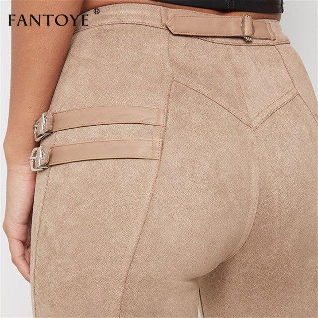 Fantoye Women Casual Bodycon Bandage Suede Pants 2019 Classic Basic Khaki Trousers Ladies Pencil Pants Elastic Women's Pants 3