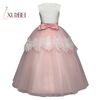 Princess Tulle Flower Girl Dresses 2019 Lace Appliqued Pageant Dresses Girls First Communion Dresses Girls Party Gowns 2018 light blue princess sheer lace flower girl dresses pageant prom baby party frocks for girls first communion puffy gowns