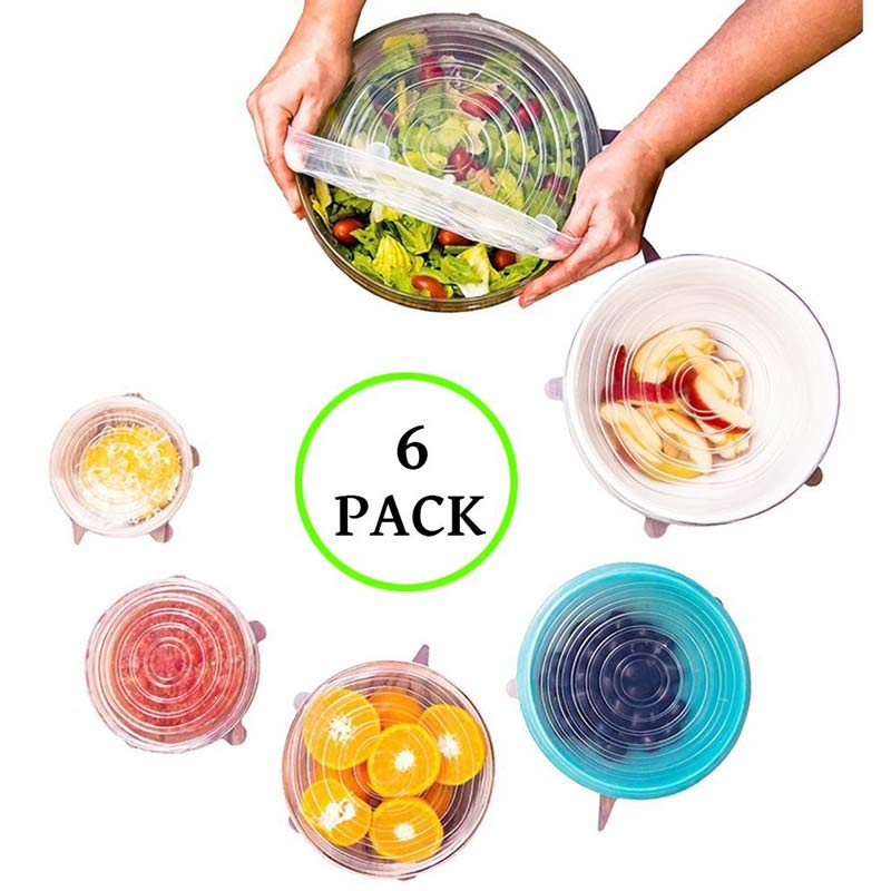 6Pcs/Set Silicone Fresh Cover Stretchable Household Kitchen Fruit Food Cling Film Anti-skid Leak Universal Silicone Lids 3 Color